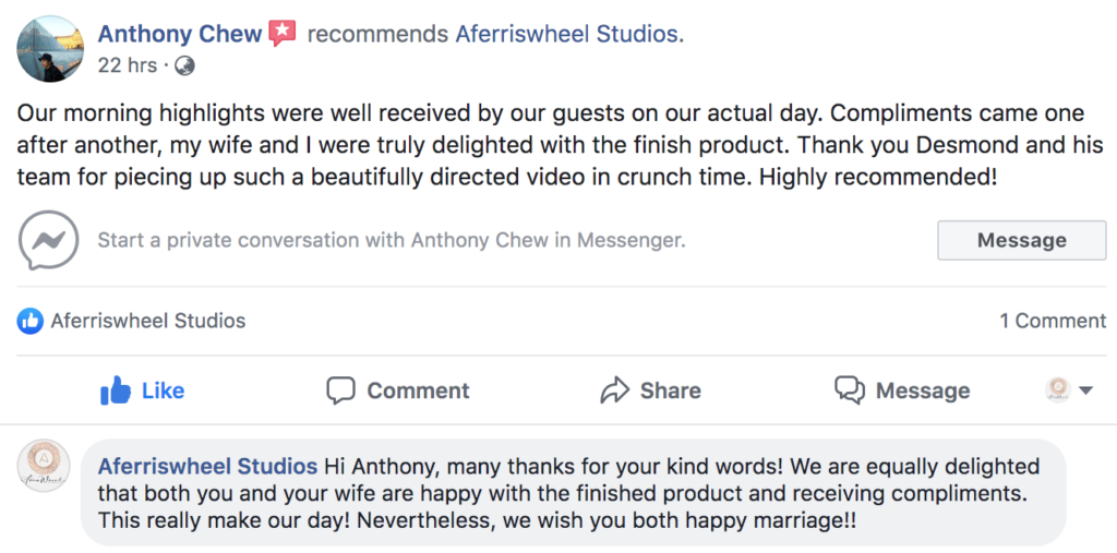 Another client testimonial to Aferriswheel